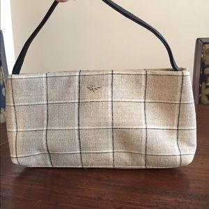 Handbags - Brown plaid cloth clutch bag.